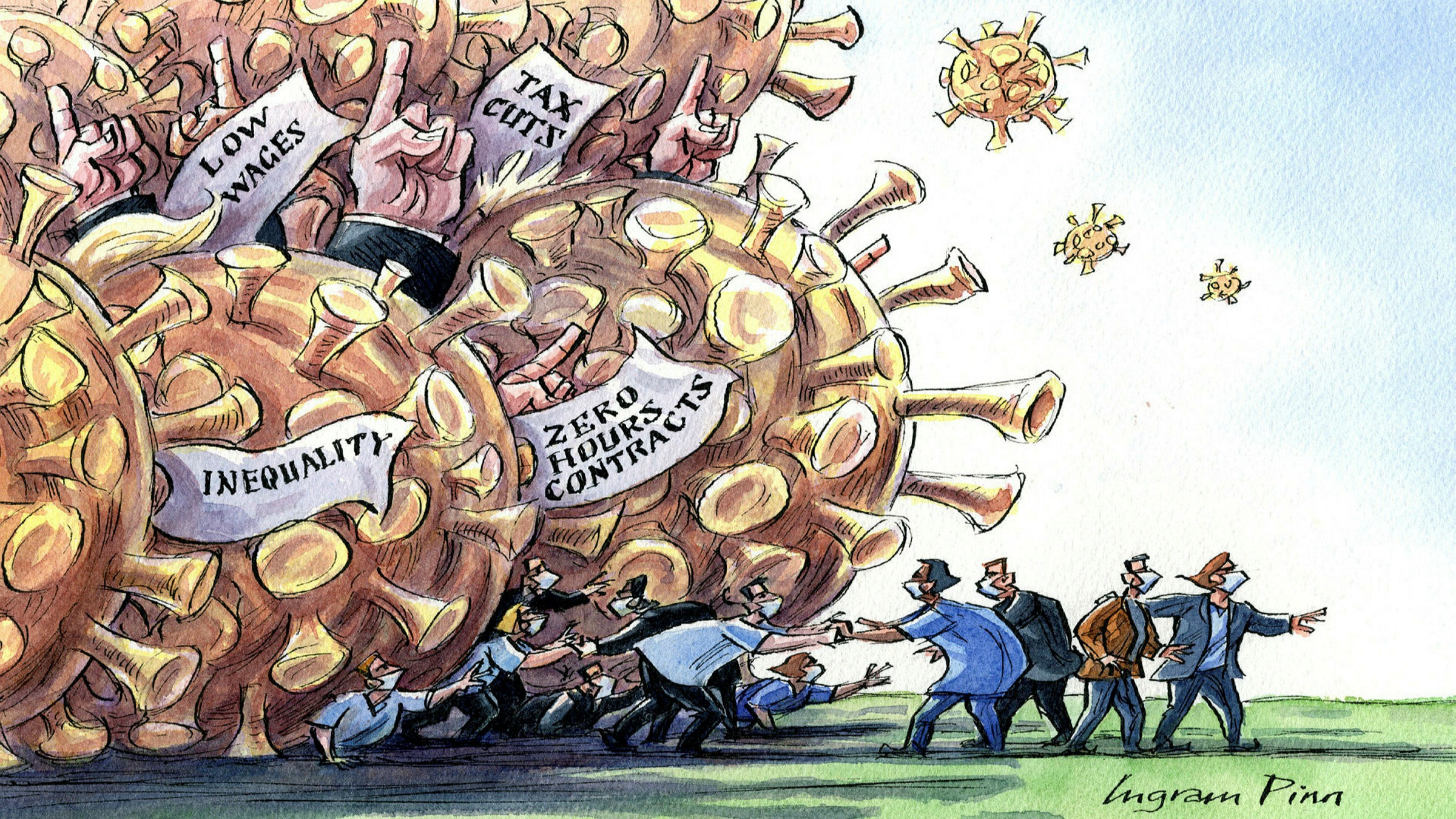 Ingram Pinn illustration of Philip Stephens column 'The path from Covid-19 to a new social contract'