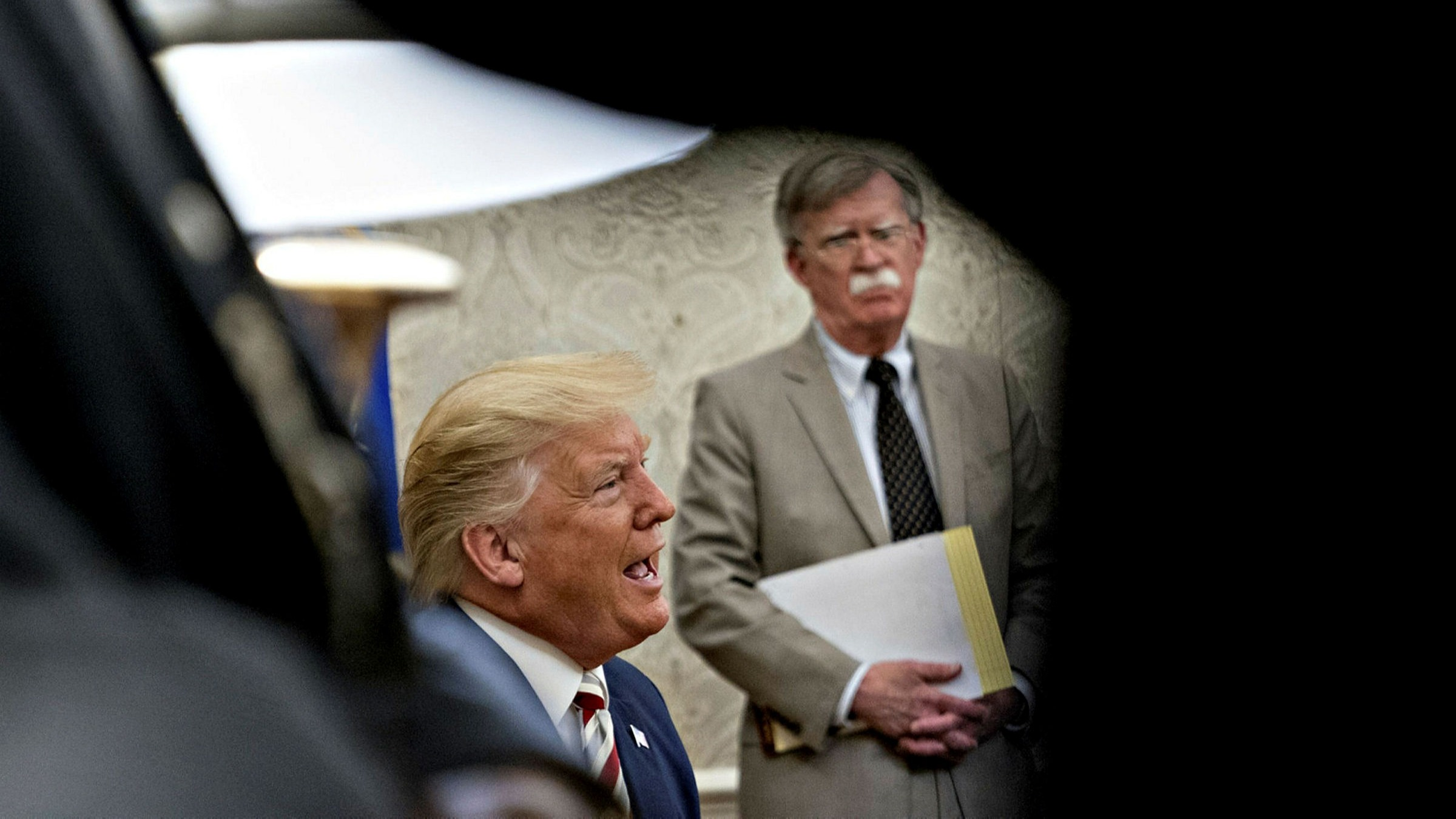 Donald Trump with his then national security adviser John Bolton in August 2019