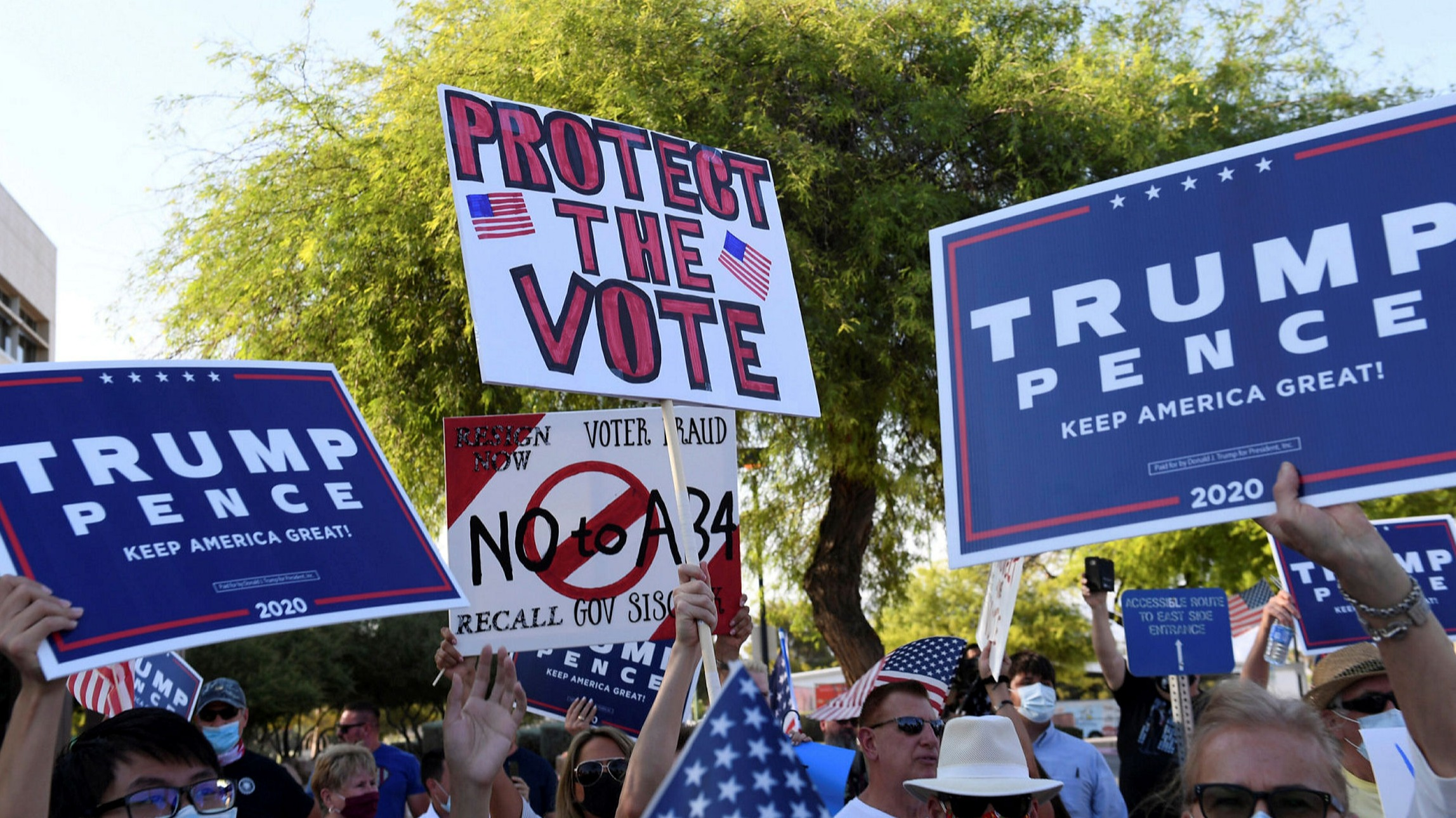 Demonstrators defend mail-in voting, which President Donald Trump describes as 'fraudulent'